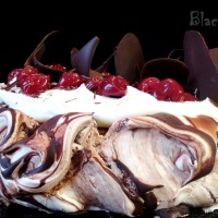 Cherry Pavlova Cake with Chocolate