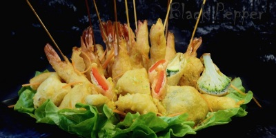 Shrimp and Vegetables in Beer Batter