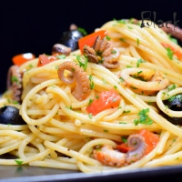 Octopus and Tomato Spaghetti