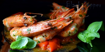 Shrimp Flambe' with Garlic and Tomatoes